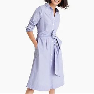 { J CREW} New Tie- waist Shirtdress Cotton Blue